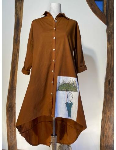 Vestido camisero botones - Pintura de lluvia ascendente en color naranja otoño